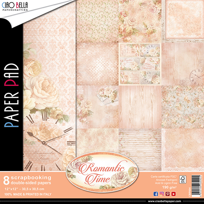 "Ciao Bella Patterns Paper Pad 12x12"" ""Romantic Time"""