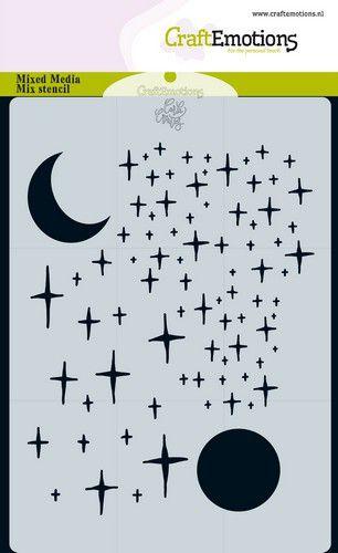 Craft Emotions Stencil måne och stjärnor