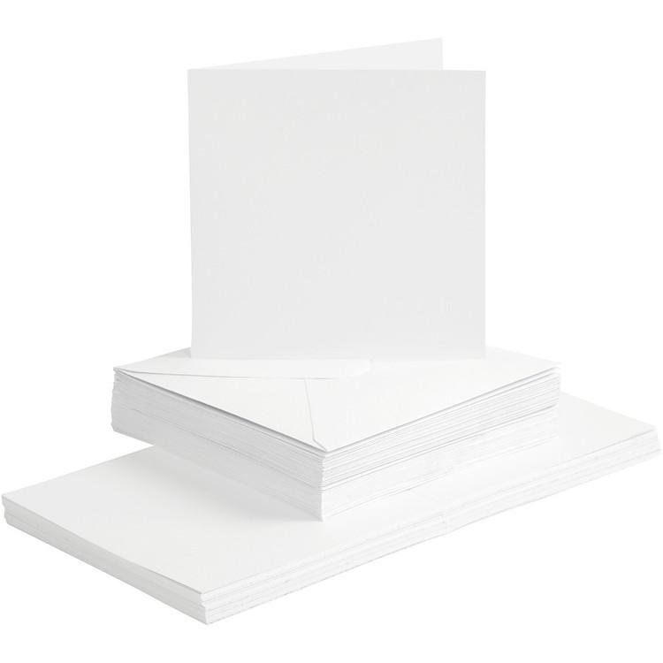 Kort och kuvert vita 15x15