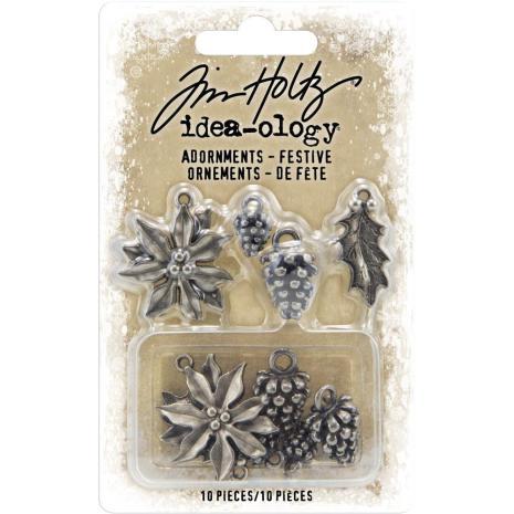 Tim Holtz Idea-Ology Metal Adornments 10/Pkg - Festive