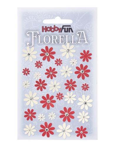 Fiorella röda o vita blommor med rhinestone