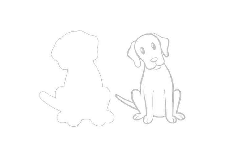 SIttande Hund dies + stämpel