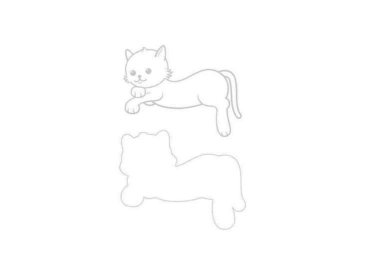 Liggande katt dies + stämpel