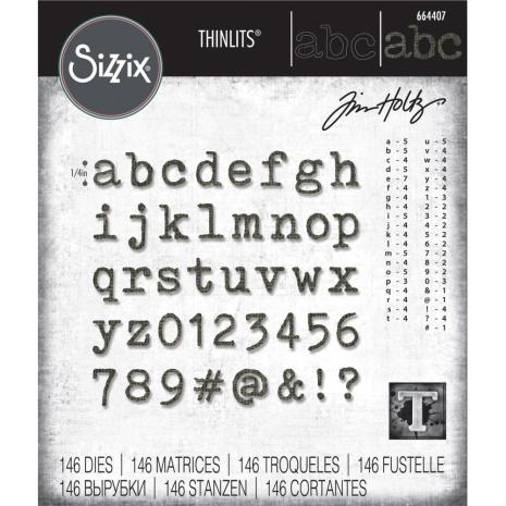 Tim Holtz Sizzix Thinlits Dies - Alphanumeric Tiny Type Lower