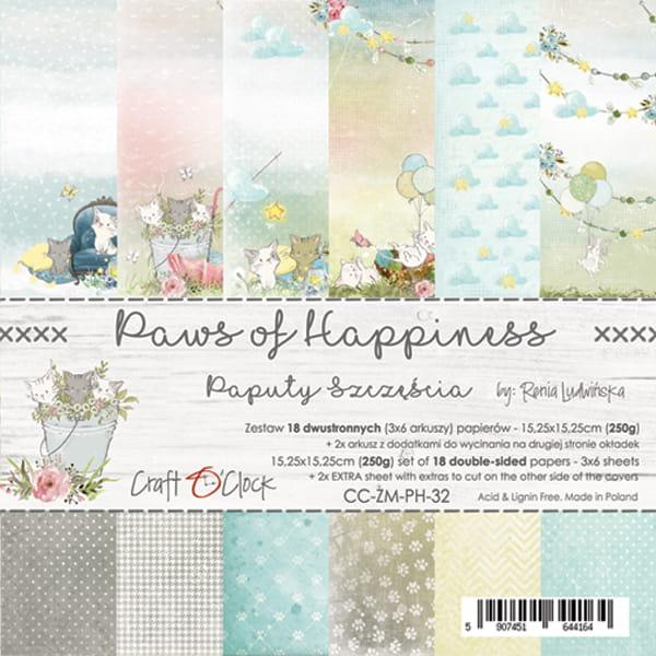 Paws of Happiness 6x6 papperspad
