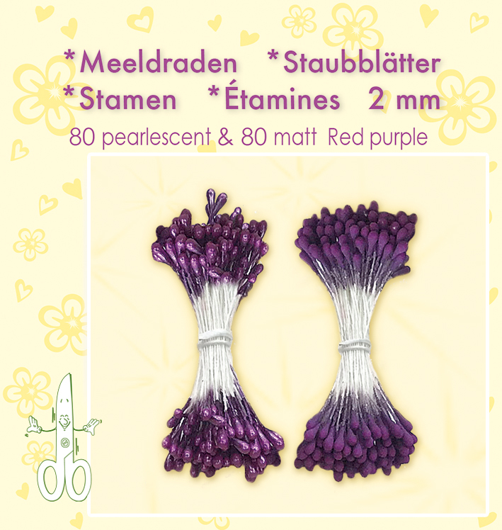 "Leane Stamen 2mm 80 Matt + 80 Pearl ""Red Purple"" 26.4889"