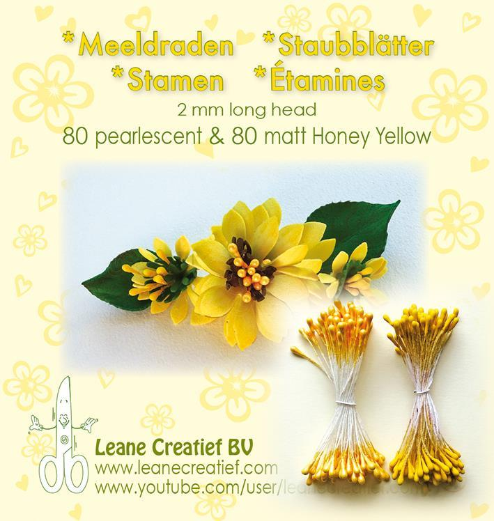 "Leane Stamen 2mm 80 Matt + 80 Pearl ""Honey Yellow"" 26.6586"