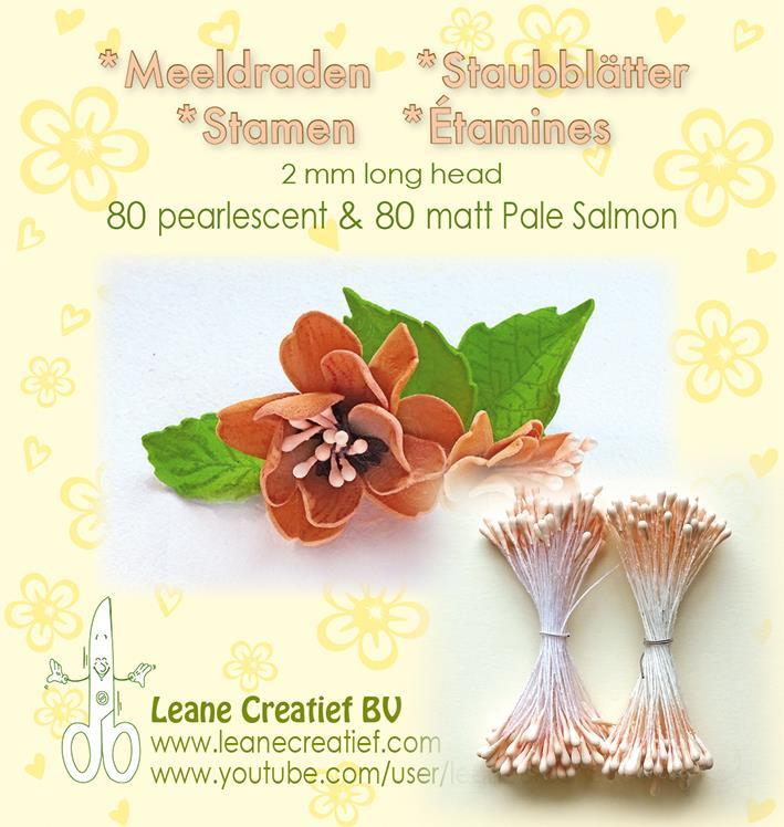 "Leane Stamen 2mm 80 Matt + 80 Pearl ""Pale Salmon"" 26.6616"