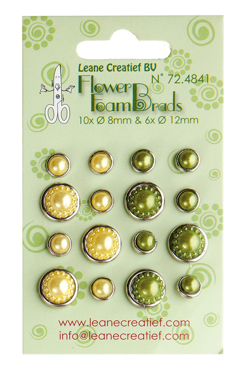 "Leane Flower Foam Pearl Brads ""Yellow & Green"" 72.4841"