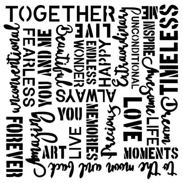 13 Arts stencil  Vintage Words