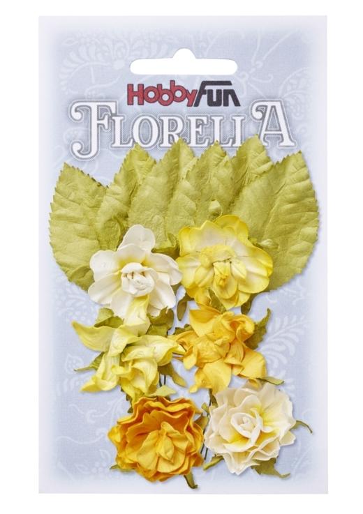 Fiorella blommor med blad  gul