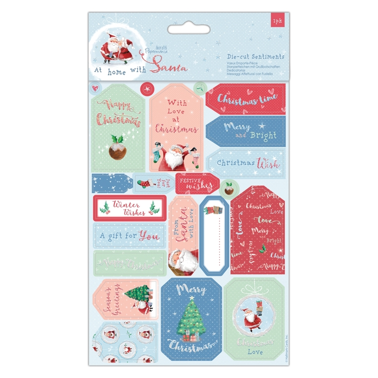Die cut Sentiments and toppers At Home with Santa