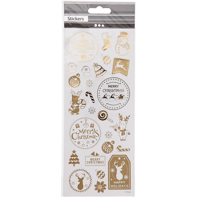 Stickers, Jul, 10x24 cm, Guld