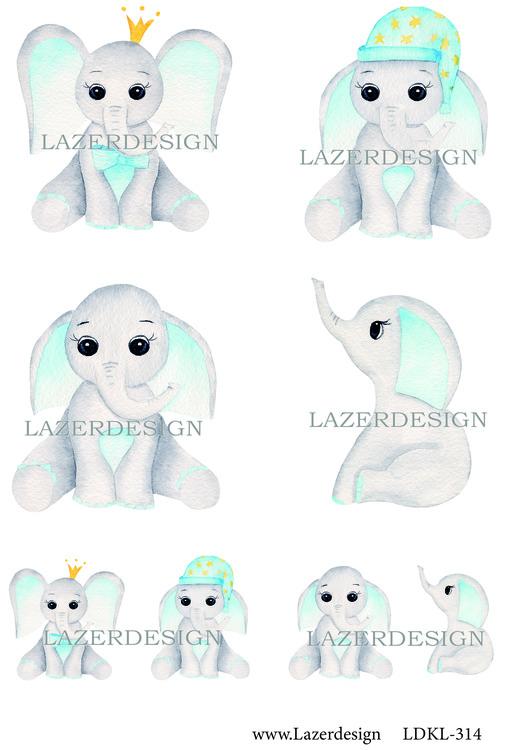 Ldkl314 Baby Elefant blå