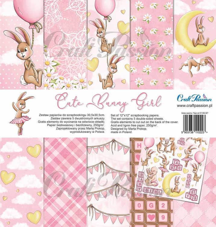 Cute Bunny Girl - scrapbooking paper set 12''x12''