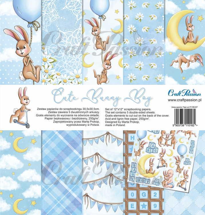 Cute Bunny Boy - scrapbooking paper set 12''x12''