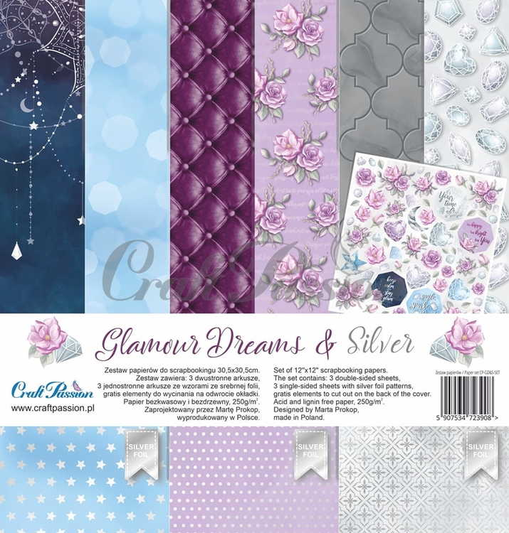 Glamour Dreams & Silver - scrapbooking paper set 12''x12''
