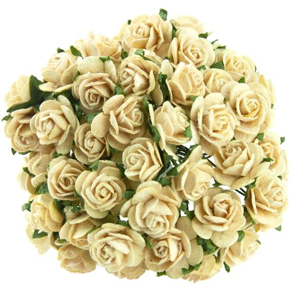 Cream mullberry roses 10 st / 1,5 cm