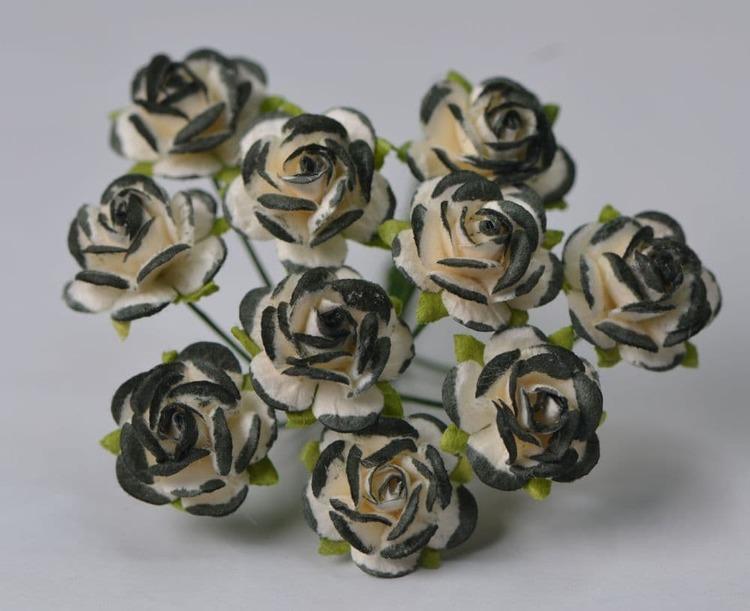 Black edge  mullberry roses  10 st / 1 cm