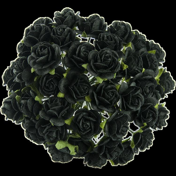 Svarta mullberry paper roses 10 st/ 1 cm