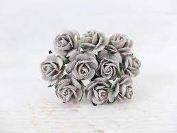 Steel grey mullberry paper roses 10 st/ 1 cm