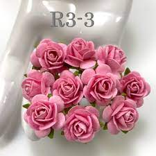 Pink mullbery paper roses  10 st / 1 cm