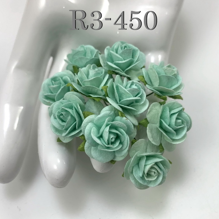 Sea green mullberry paper roses 10 st / 2 cm