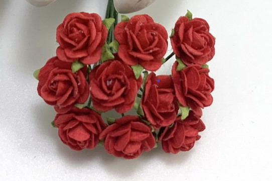 Red mullberry paper roses 10 st / 1.5cm