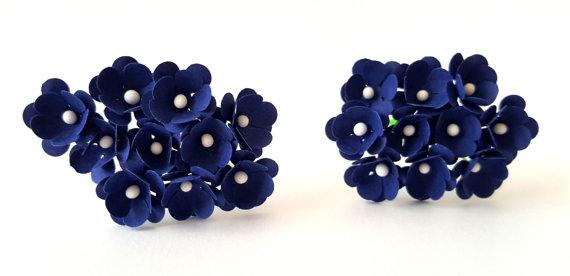 Mörkblå små blommor 10 st / 1.5 cm