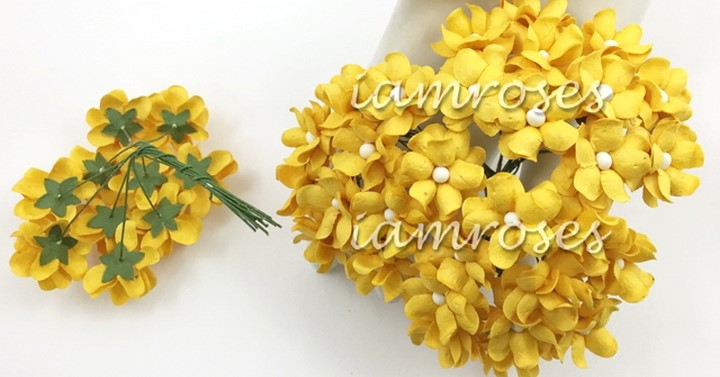 Yellow spring cottage flowers 10 st / 2.5 cm
