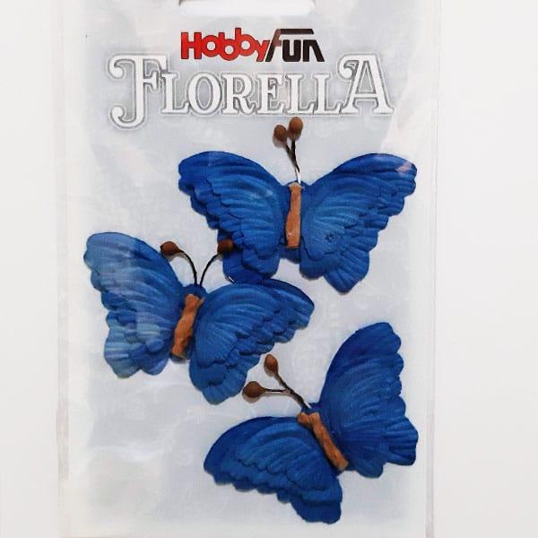 Blå fjärilar 3 st