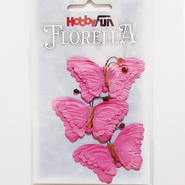 Rosa Fjärilar 3 st