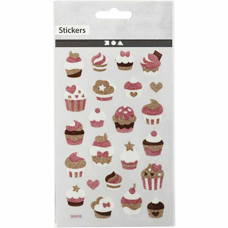 Muffins Glitterklistermärken
