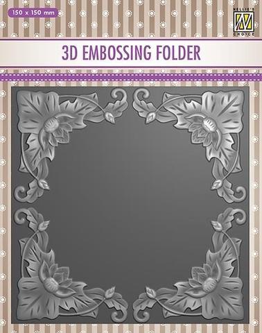3D Embossingfolder Exotic Flower Frame