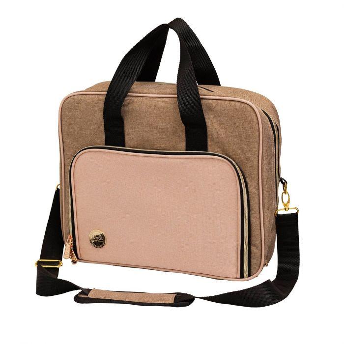 Crafter's bag Shoulder bag Taupe and pink