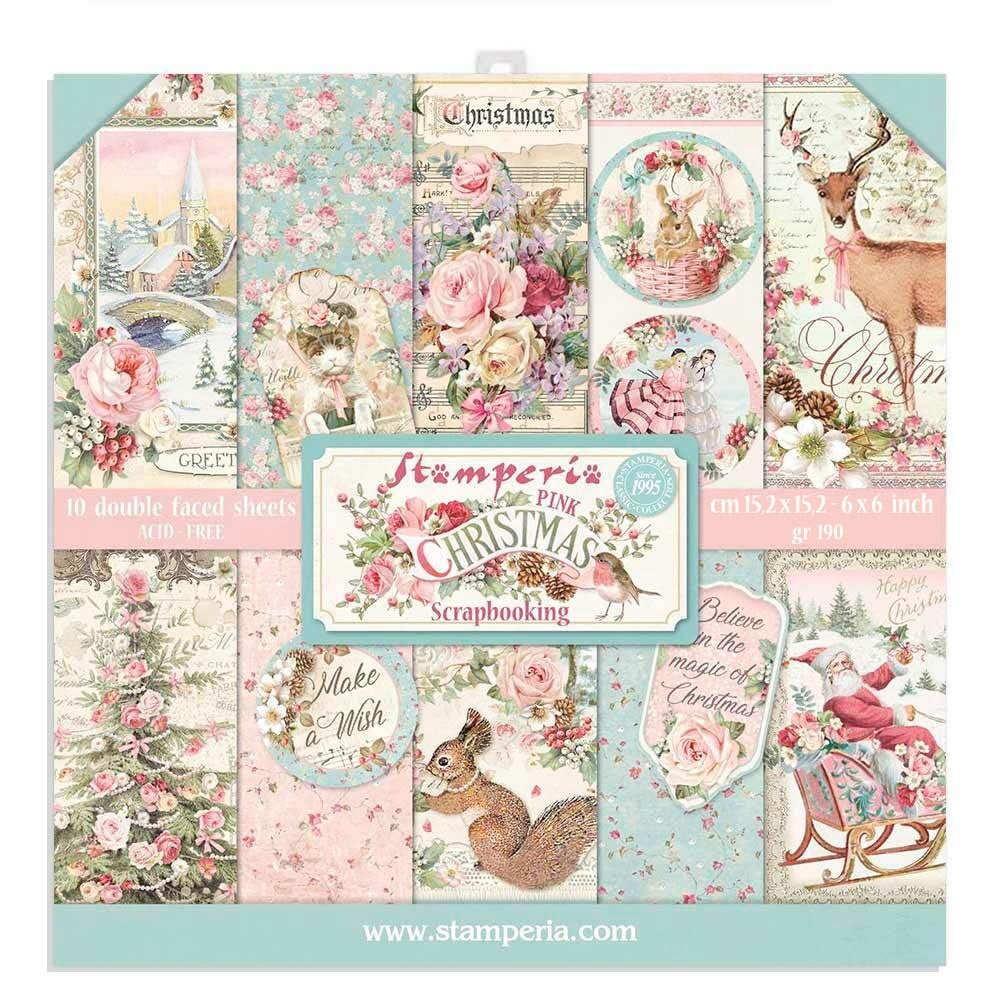 Stamperia Pink Christmas 6x6 Inch Paper Pack