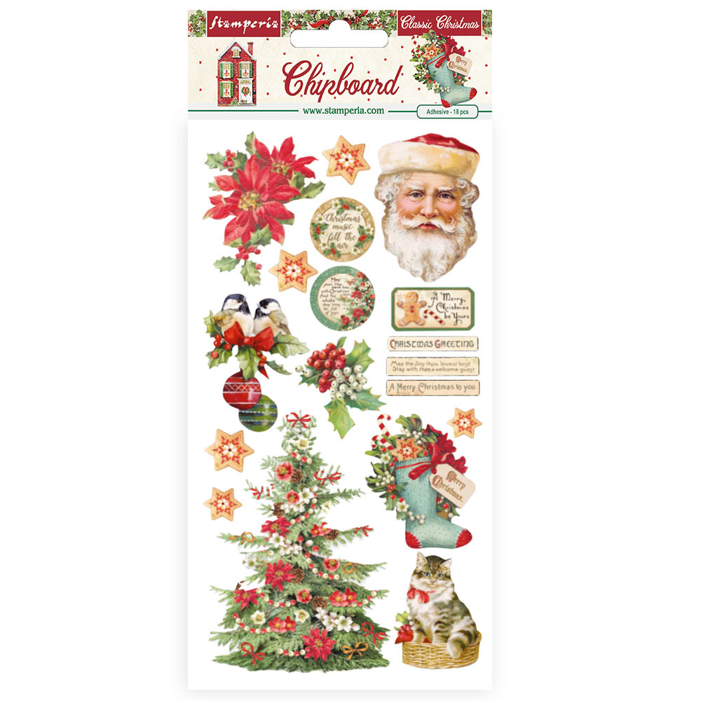 Stamperia Chipboard 15x30cm Classic Christmas