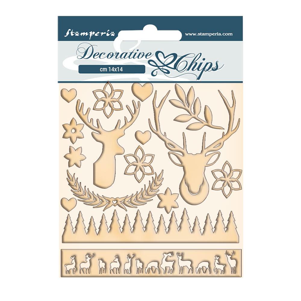 Christmas deer chipboard