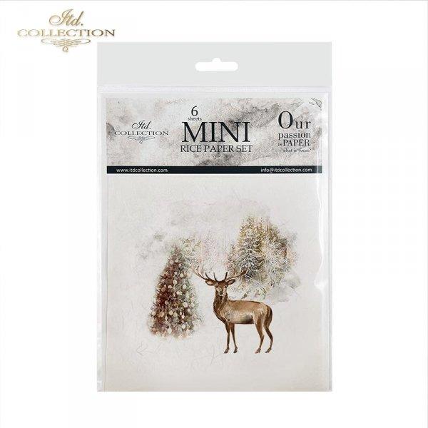 Rispapper set mini RSM026 - Vinterdjur, rådjur, rådjur, julgranar