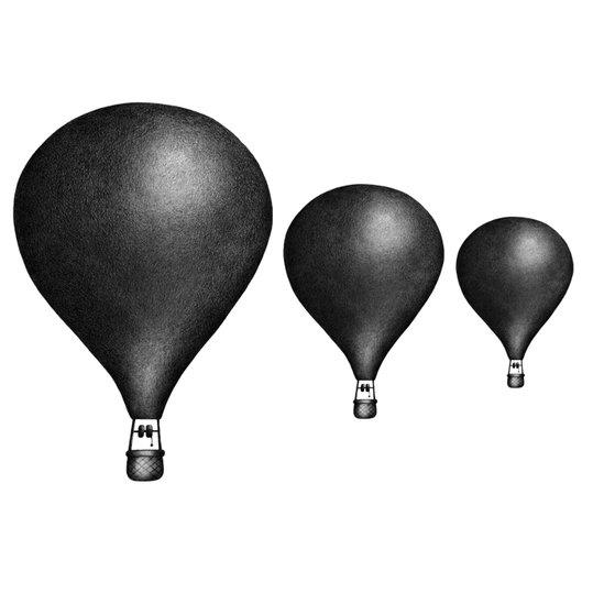 3-pack luftballonger, Svart