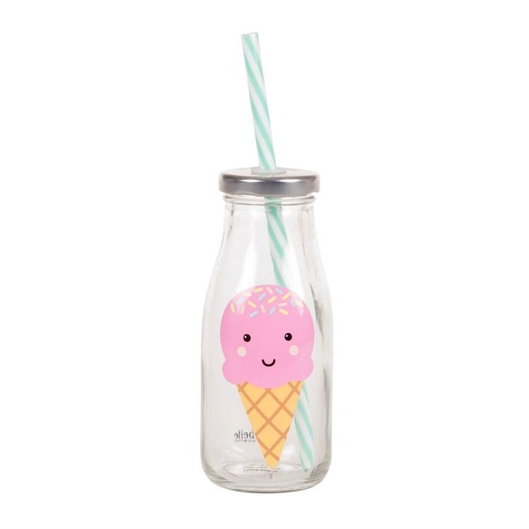 Glas flaska med sugrör