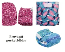 Prova på pocketblöjor - Olika material