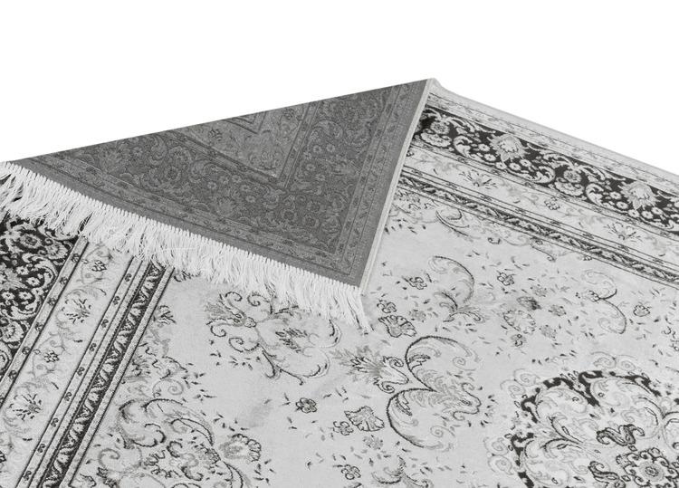 Silk Medallion Silver - Konstsilkesmattor