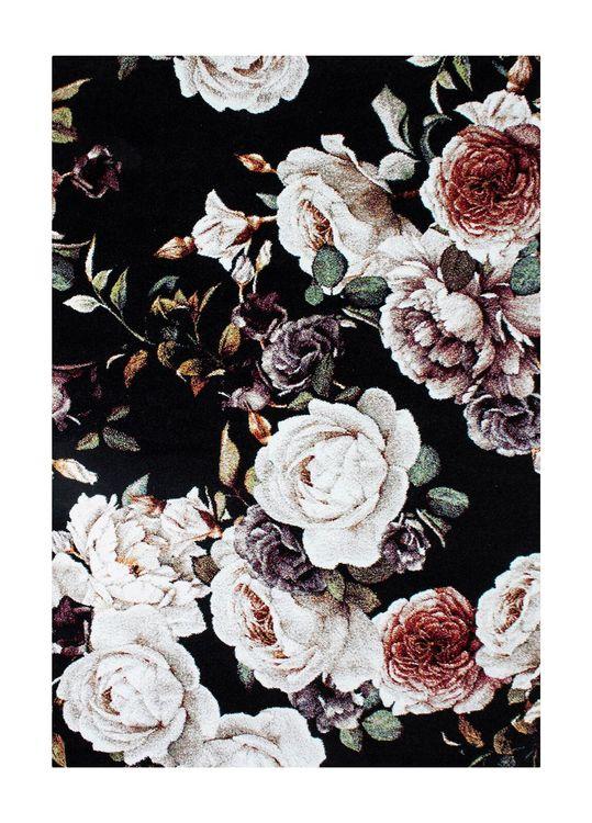 Isle Roses Svart - Maskinvävda mattor
