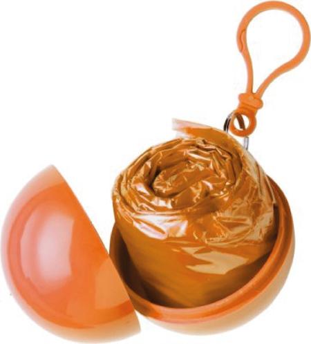 """Orange Poncho i plastboll """"FYNDHÖRNAN"""""""