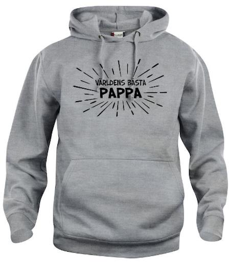 """Hoodtröja Basic """" Världens bästa PAPPA med strålar"""""""