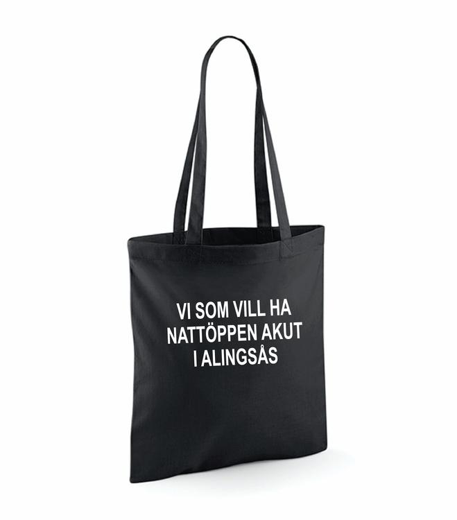 """Svart Tygkasse """"Nattöppen Akut Alingsås"""""""