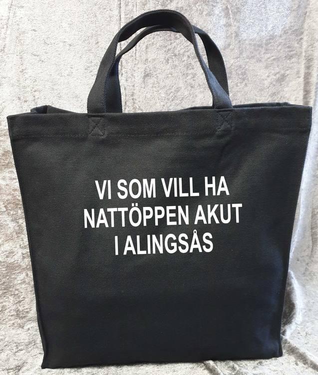 """Svart Tygkasse Kraftig """"Nattöppen Akut Alingsås"""""""