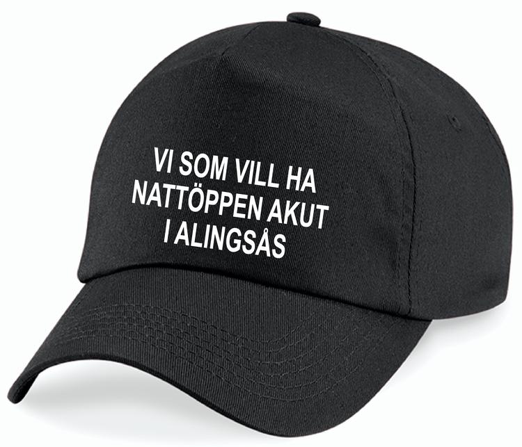 """Svart Keps """"Nattöppen Akut Alingsås"""""""