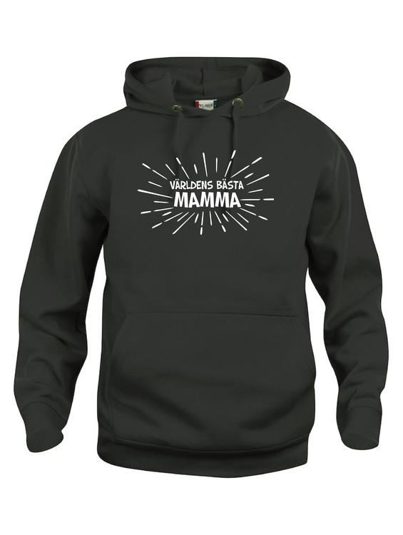 """Hoodtröja Basic """"VÄRLDENS BÄSTA MAMMA STRÅLAR"""""""
